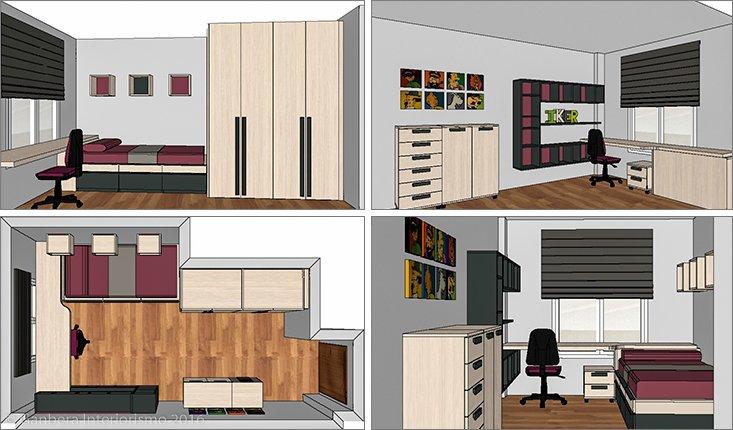 Bocetos 3d decoración de un dormitorio juvenil roble gris Gernika