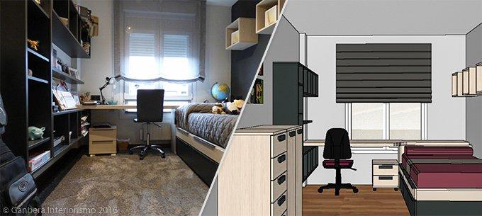 Decoración de un dormitorio juvenil en roble y gris en gernika