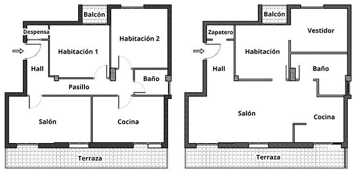 Distrucion en planta reforma y decoracion de un apartamento en Amorebieta Bizkaia